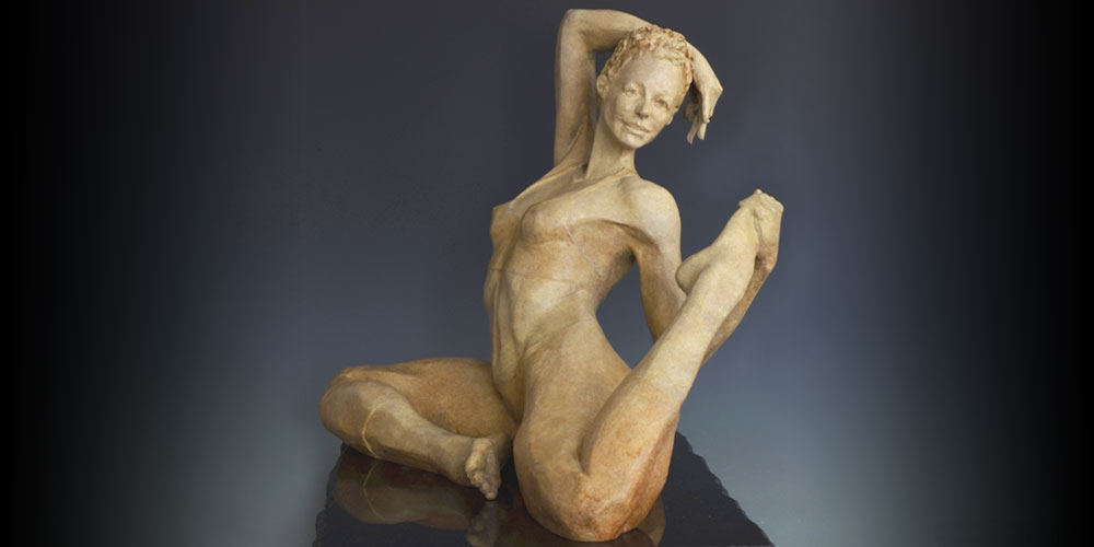 Hot Yoga bronze sculpture by David Varnau